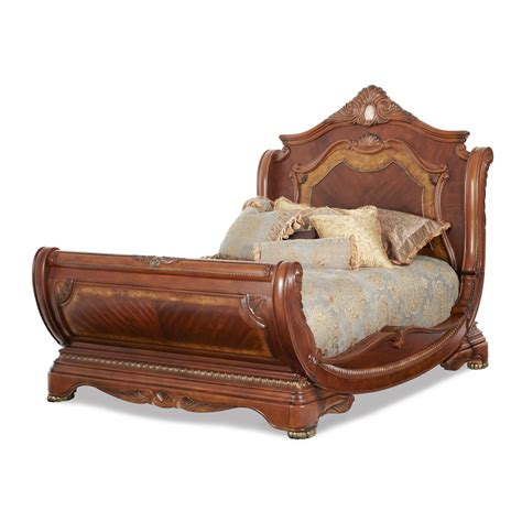 AICO Michael Amini Cortina King Size Sleigh Bed in Honey Walnut Finish for $3,507.00 in Bedroom