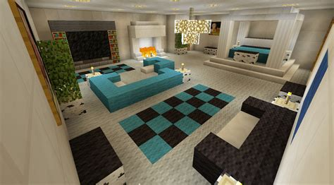 minecraft bedroom with living area furniture and canopy bed and fireplace minecraft creations