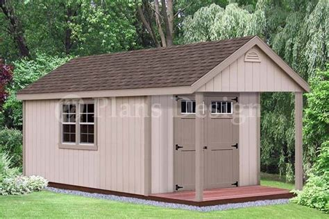 16 x 10 cabin poolhouse shed with porch plans p61610