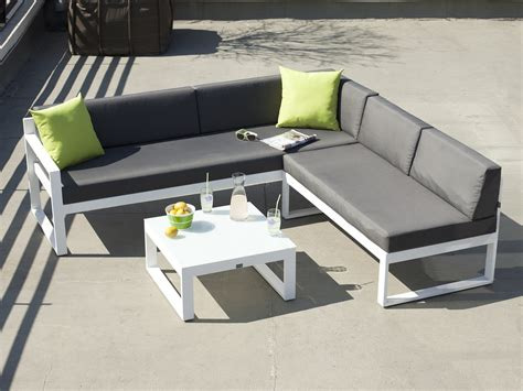 salon de jardin bas 5 places canap 233 d angle table basse en aluminium moderne