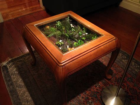 Living Room. Rectangular Metal And Glass Terrarium Coffee Table With Tiny Indoor Succulent