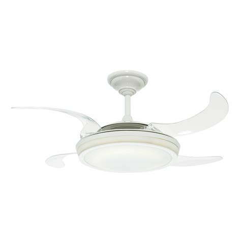 shop fanaway retractable blade 48 in white downrod mount ceiling fan with light kit and