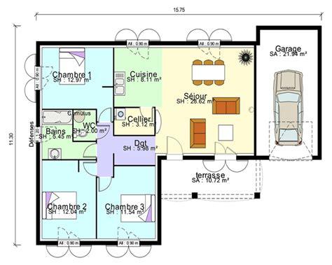 plan maison plain pied 3 chambres avec suite parentale et garage
