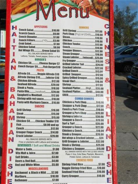 menu for oh andros picture of arawak cay nassau tripadvisor