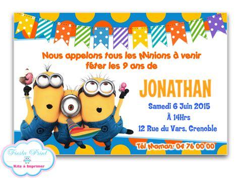 minions invitation anniversaire personnalis 233 e 224 imprimer printable autres papeterie par
