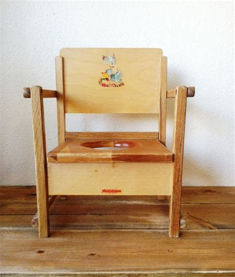 vintage wooden baby toddler child potty chair 1940 s i this