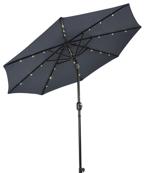 deluxe solar powered led lighted patio umbrella 10 blue outdoor umbrellas by trademark