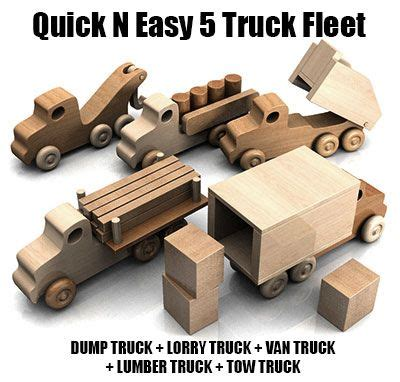 Speelgoed Quick by Quick N Easy 5 Truck Fleet Wood Toys Plan Set Diy
