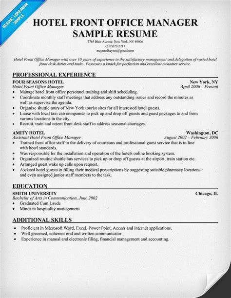hotel front office manager resume resumecompanion