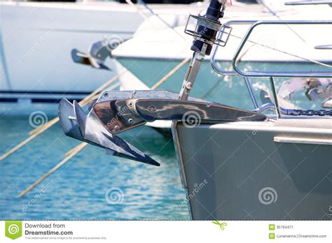 Bow Of A Boat In French by Boat Bow With Anchor Detail Of Sailboats In A Row Stock