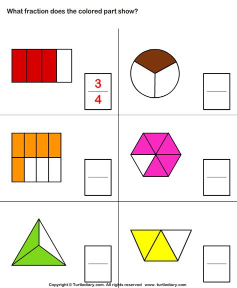 What Fraction Does The Shape Show 10 Worksheet Turtlediarycom