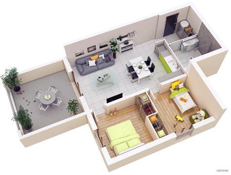 3d floor plan image 2 for the 1 bedroom studio floor plan 20 more 2 bedroom 3d floor plans home decoratings and diy