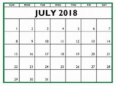 July 2018 Printable Calendar Office Letter, Template