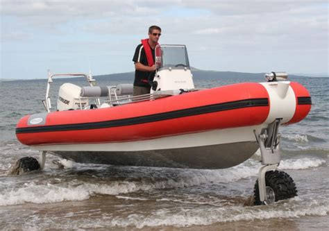 Inflatable Boat With Drive Wheels by Sealegs Speedboat An Hibious Rescue Vehicle