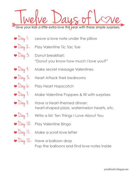 Kids Valentine's Day Activity Twelve Days Of Love