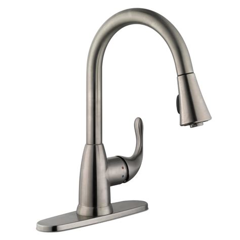 glacier bay market single handle pull sprayer kitchen faucet in stainless steel 67551