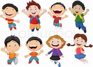 Vector illustration of Happy school kid cartoon | Stock ...