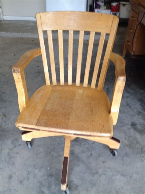 antique solid quartersawn oak wood swivel chair banker