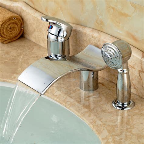bathtub faucet single handle polished chrome waterfall spout 3pcs widespread bathtub