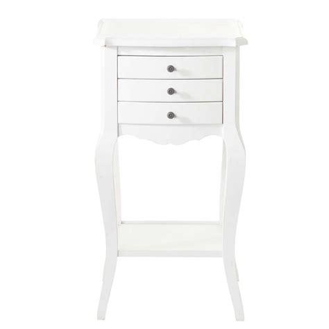 table de chevet avec tiroirs en bois blanche l 37 cm s 233 raphine maisons du monde
