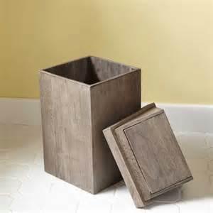 teak waste basket with swing top lid gray wash