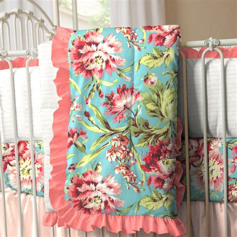 coral and teal floral crib comforter carousel designs