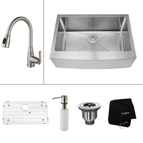 Home Depot Kraus Farmhouse Sink by Kraus All In One Farmhouse Apron Front Stainless Steel 30