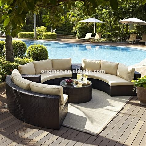 semi circle patio wicker chairs with sectional arm tables rattan garden treasures outdoor