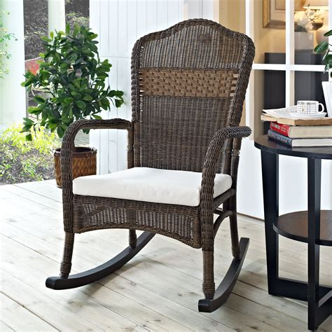 coral coast mocha resin wicker rocking chair with beige cushion outdoor rocking chairs at