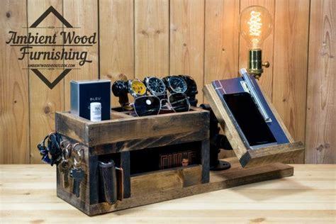 Wood Utility Storage Lamp With Pipe Stand With Electronic