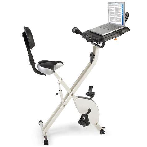 the foldaway exercise bicycle desk hammacher schlemmer