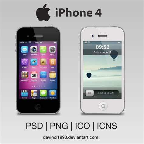 apple iphone 4 psd png ico icns by davinci1993 on deviantart