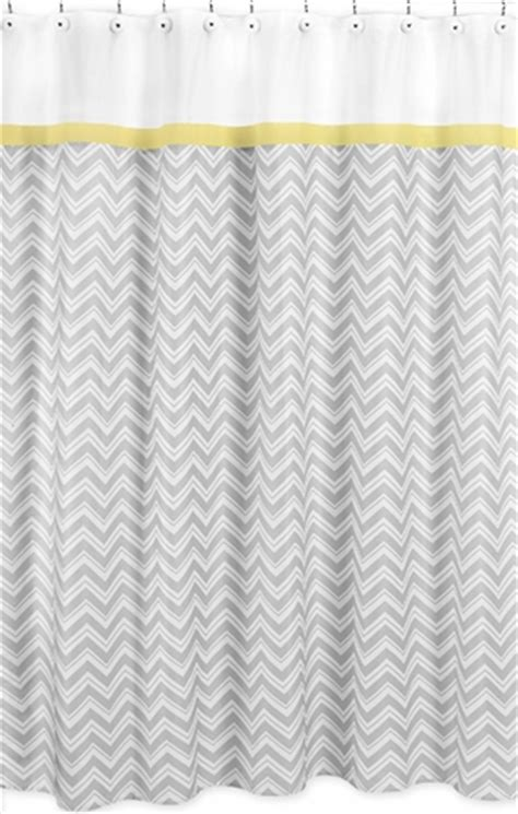 yellow and gray chevron zig zag bathroom fabric bath shower curtain by sweet jojo designs