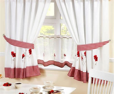 "Poppies Red Embroidered Gingham Kitchen Curtains & 24"" Cafe Panel *5 Sizes* How Wide Should You Hang Curtain Rod To Curtains Two Windows Sheers Images Same Day Delivery Block Light From Unitized Wall Installation Details Attach Rods Ceiling Nz"