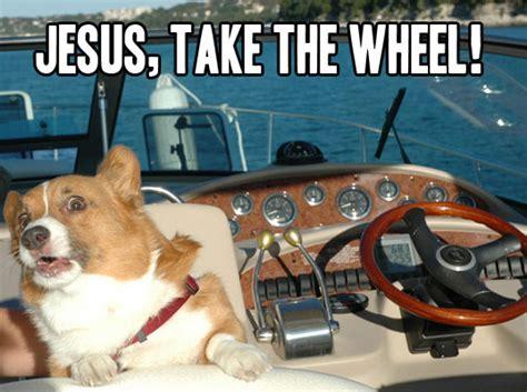 Boat Dog Captions by Jesus Take The Wheel Alligator Sunglasses